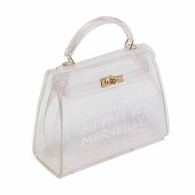 White Un Voyage Top Handle Midi jelly Tote Bag - Catalina