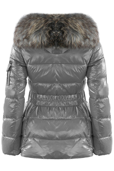 Shiny Grey Wetlook Belted Real Fur Hood Quilted Puffer Jacket - Stella - Storm Desire