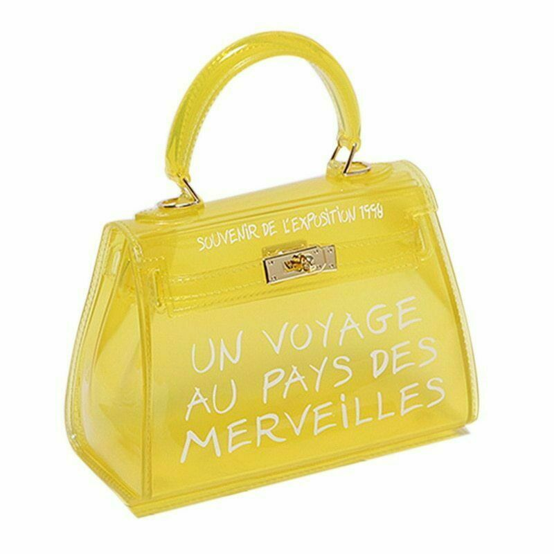 Yellow Un Voyage Top Handle Midi jelly Tote Bag - Catalina