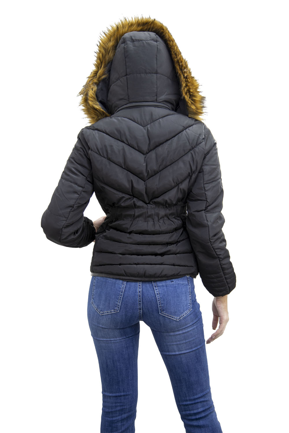 Black Faux Fur Hood Puffer Jacket - Serena