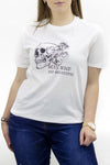 White 'Stay Wild & Beautiful' Slogan Round Neck T-shirt - Ashe