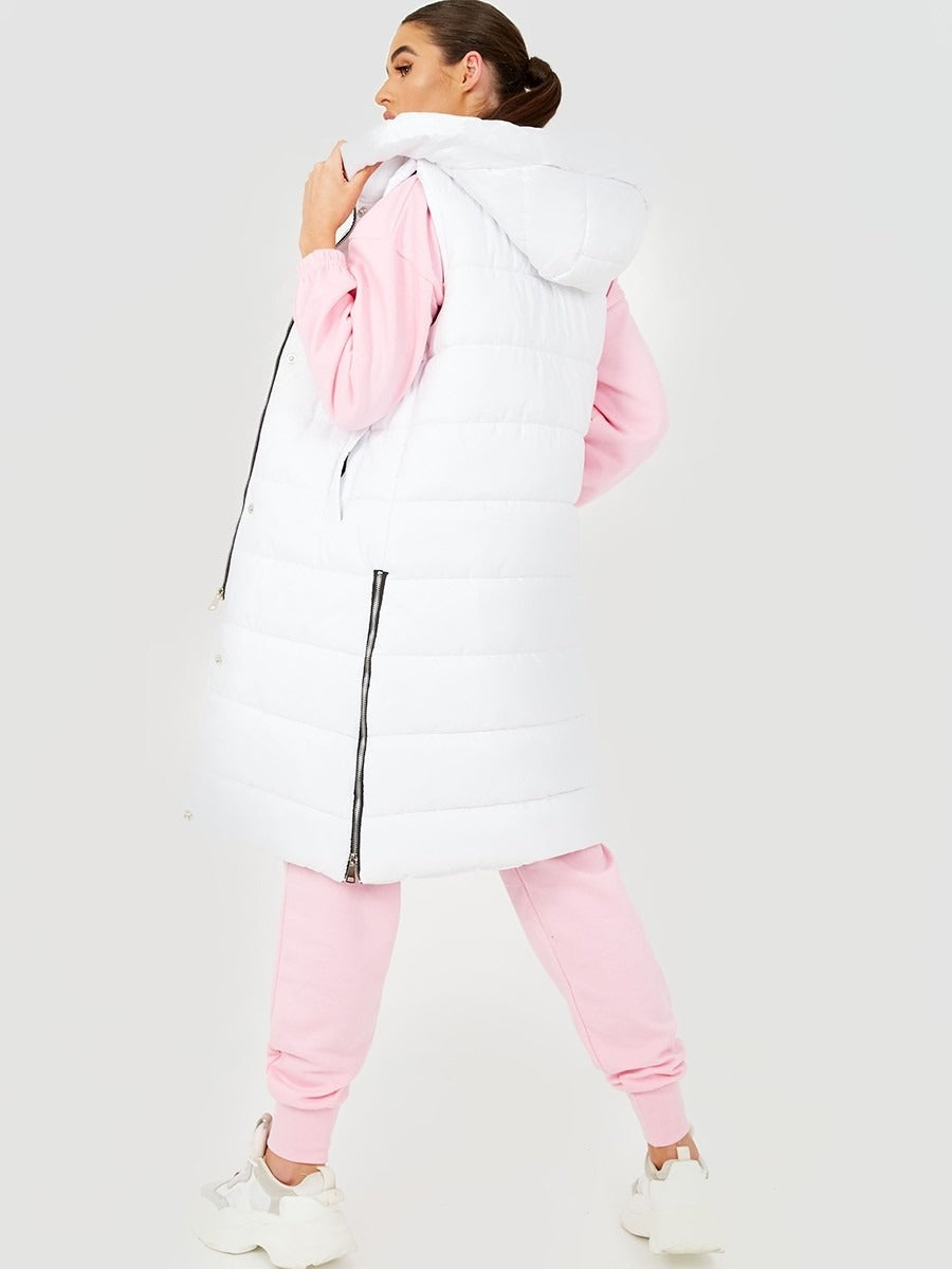 White Longline Padded Hooded Gilet - Jayla