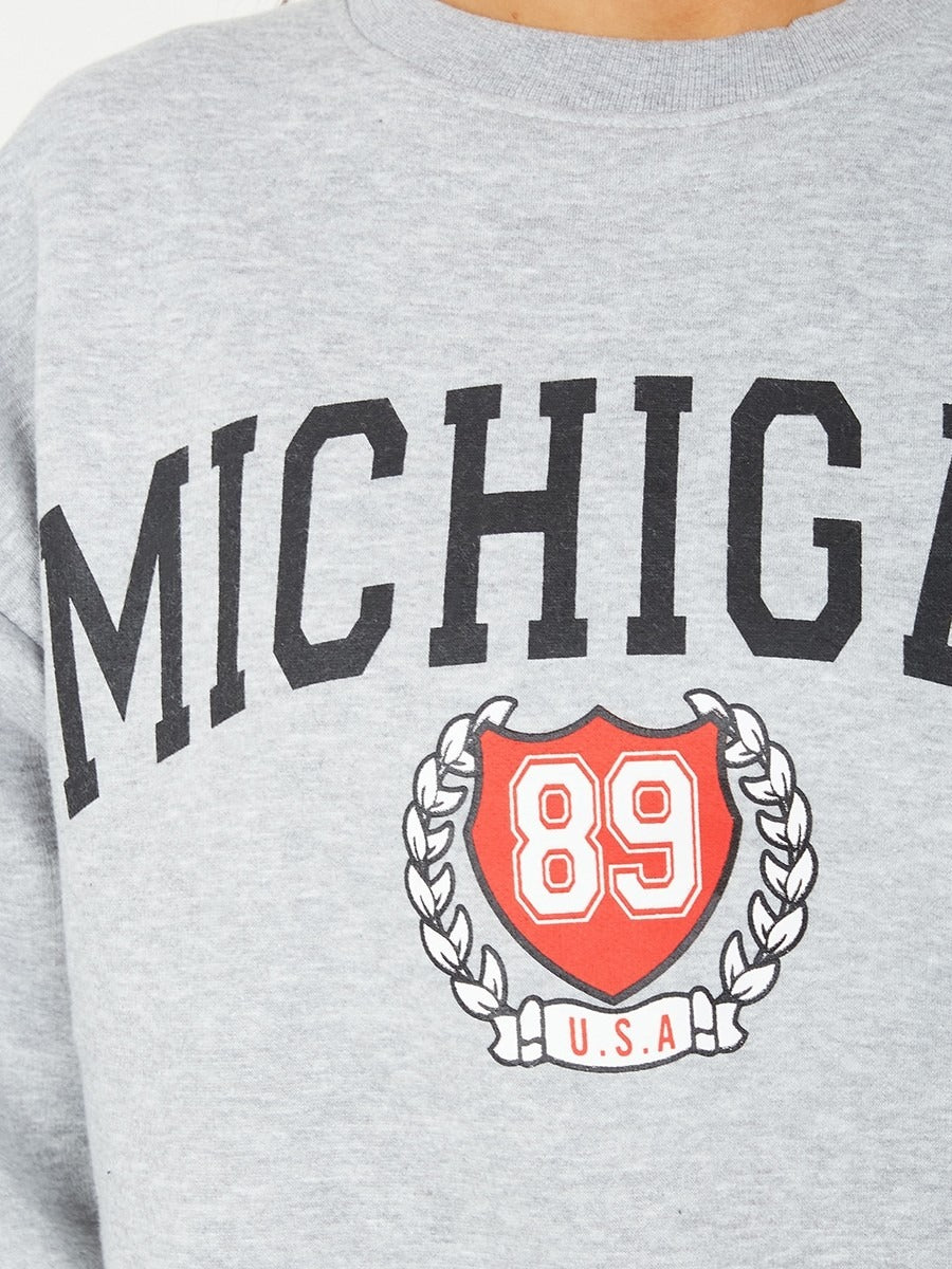 Grey MICHIGAN Graphic Sweatshirt Jumper - Dora