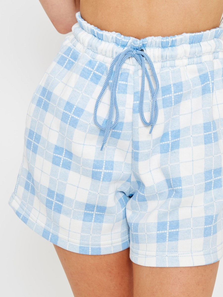Blue Checked Crop Top & Shorts Co-ord Suit - Ayla