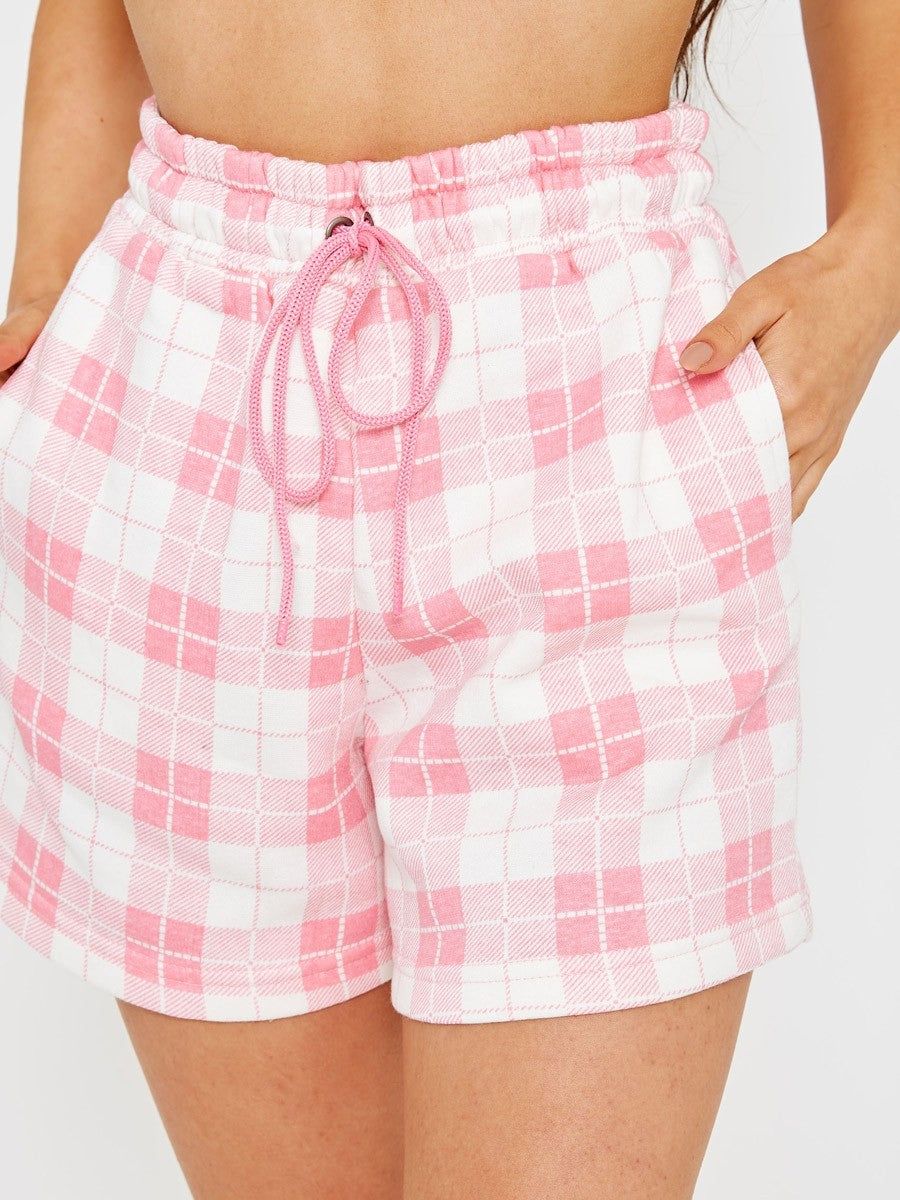 Pink Checked Crop Top & Shorts Co-ord Suit - Ayla