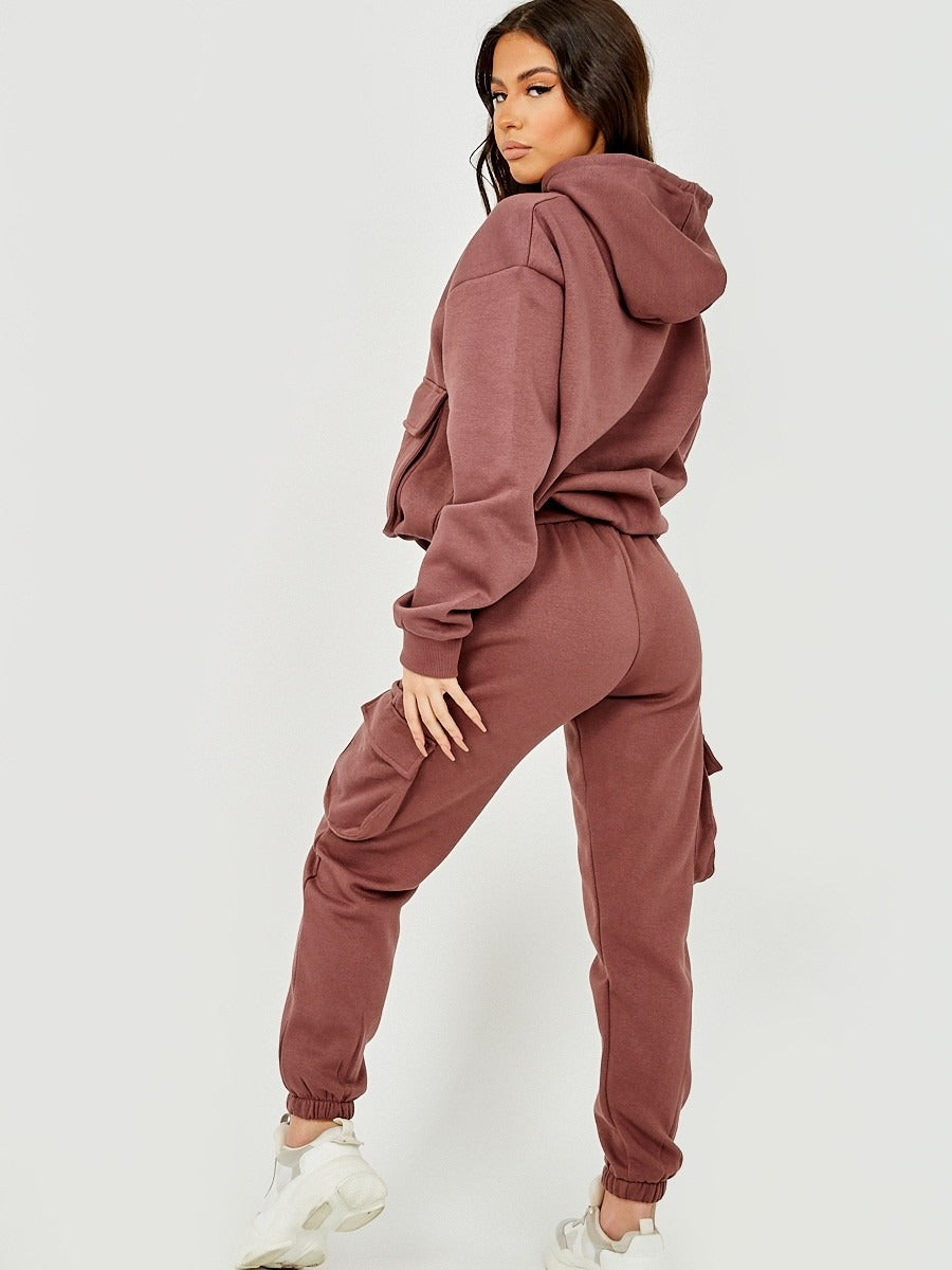 Brown Utility Pocket Hooded Top & Trouser Fleece Co-ord - Nikki