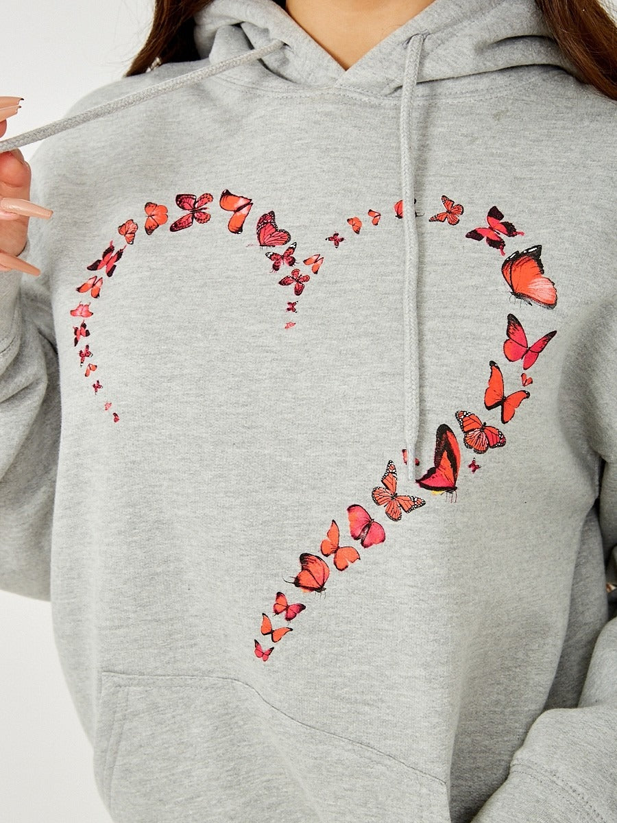 Grey Butterfly Heart Graphic Hoodie - Ariel