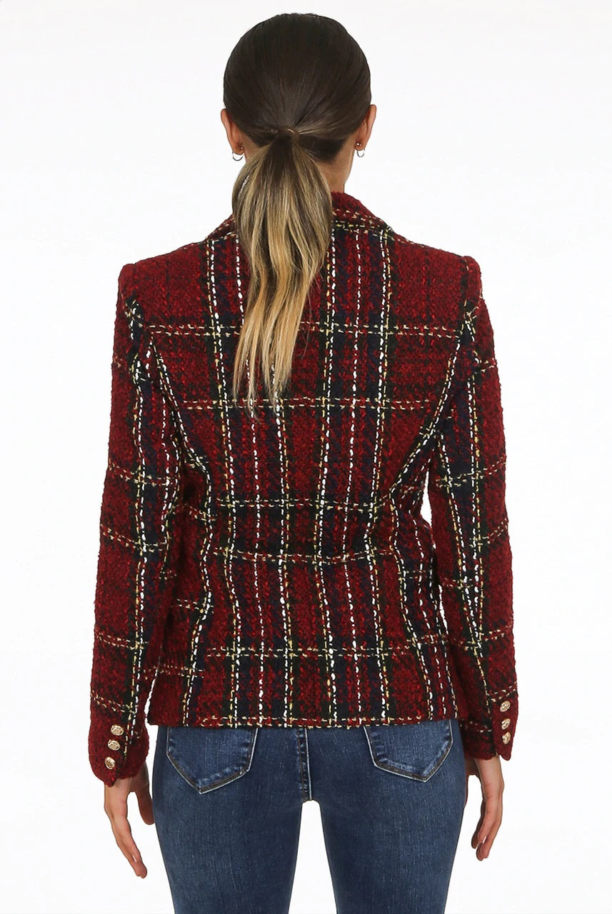 Wine Knitted Check Thread Double Breast Blazer - Ophelia