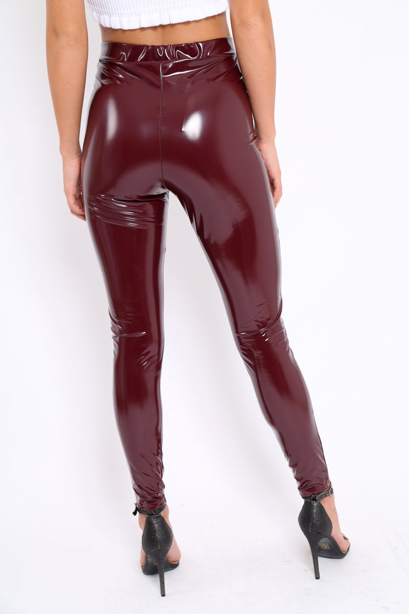 Wine Shiny Pu Vinyl Leggings - Laura - Storm Desire