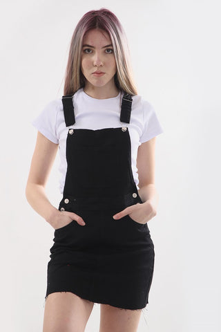 Black Denim Pinafore Buckle Dress - Andrea - storm desire