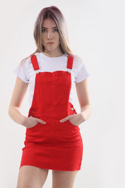 Denim Red Pinafore Buckle Dress - Andrea - storm desire