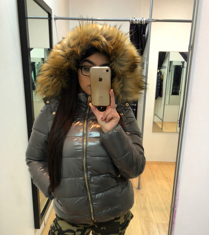 Grey Shiny Wet look Faux Fur Hood Jacket - Joana - storm desire