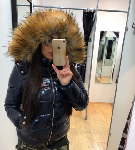 Navy Blue Shiny Wet look Faux Fur Hood Jacket - Joana - Storm Desire