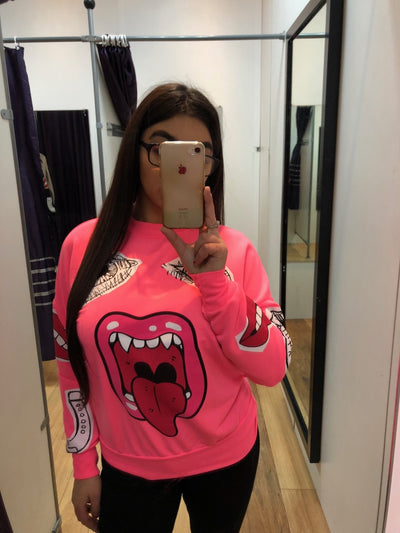 Kids Neon Pink Monster Printed Sweatshirt Jumper - Lilly - Storm Desire