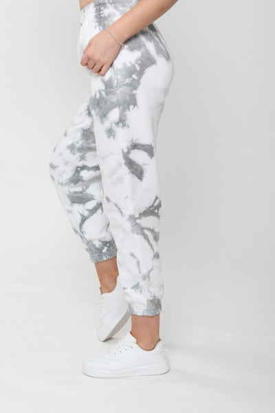 Grey Tie-Dye Oversized Fleece Joggers - Ginny