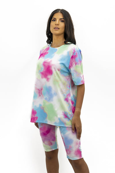 Pink Blue Tie Dye Print Top & Shorts Set - Catherine