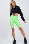 Neon Green Satin Cycling Shorts - Vanessa