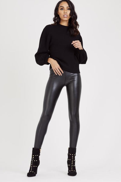 Laura Rubber Look Soft Stretch Leggings - Black - Storm Desire