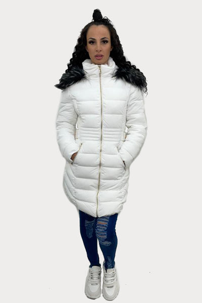 White Faux Fur Hooded Long Puffer Jacket - Genesis