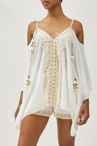 Cream Lux Lace Trim Cold Shoulder Co-Ords Set - Amara - storm desire
