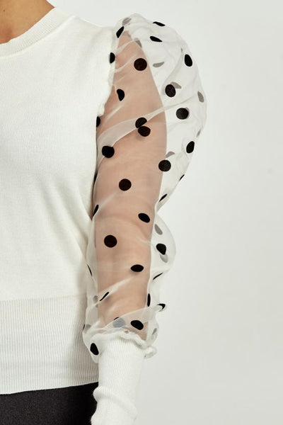 Off White Polka Dot Mesh Sleeve Ribbed Jumper - Elise