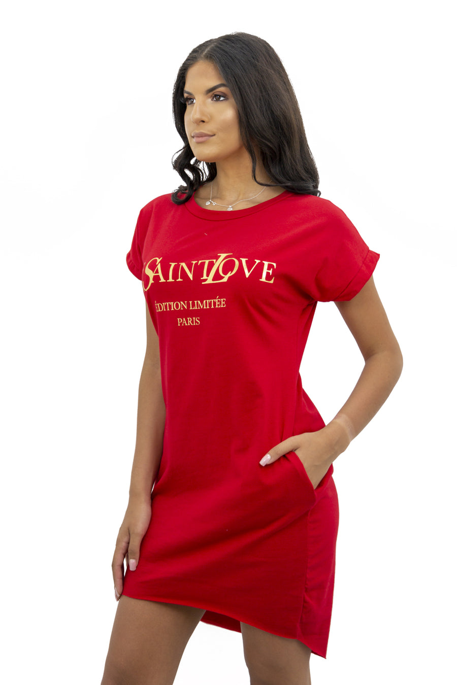 Red Ye Saint Love Gold Print Dress - Haley