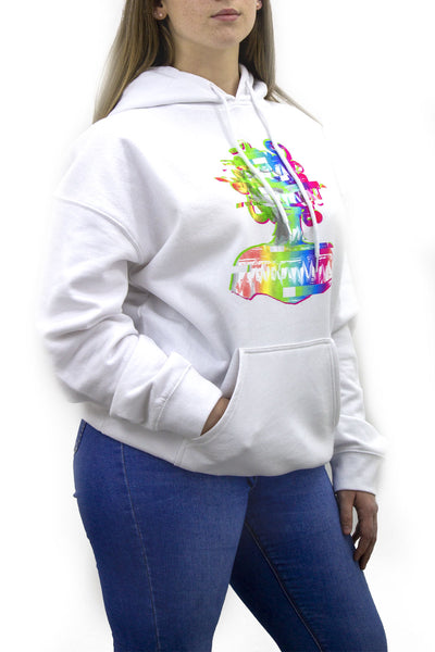 White Distorted Graphic Fleeced Hoodie - Zora