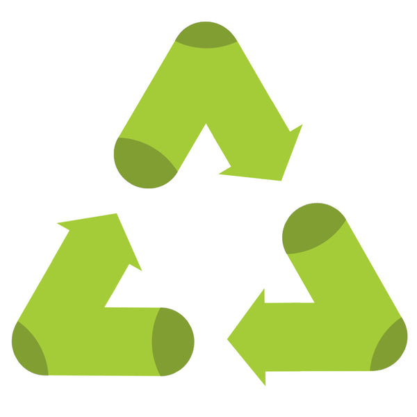 "Triangle green recycling symbol, beside text that says ""zkano Recycles""."