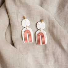Load image into Gallery viewer, speckled white + terracotta francis earrings