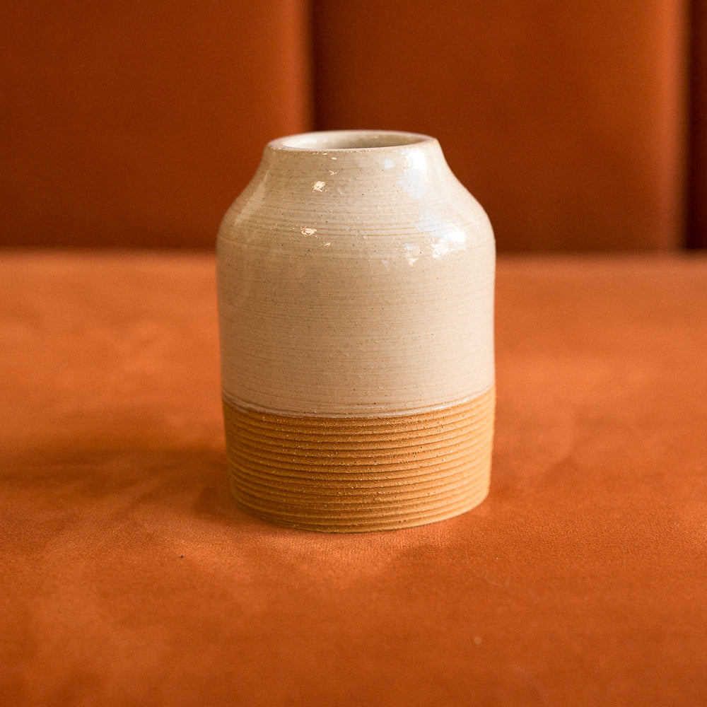 textured ceramic vase in mocha