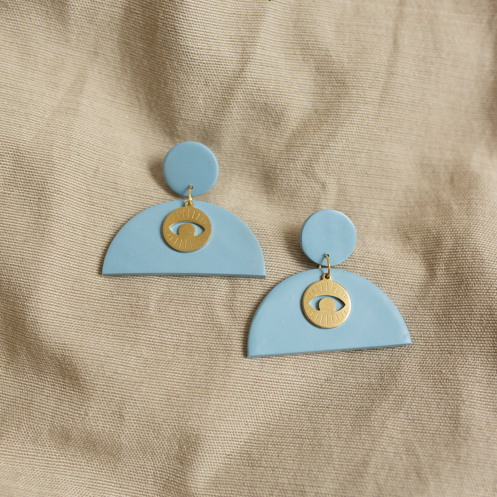 moon eye earrings in sky