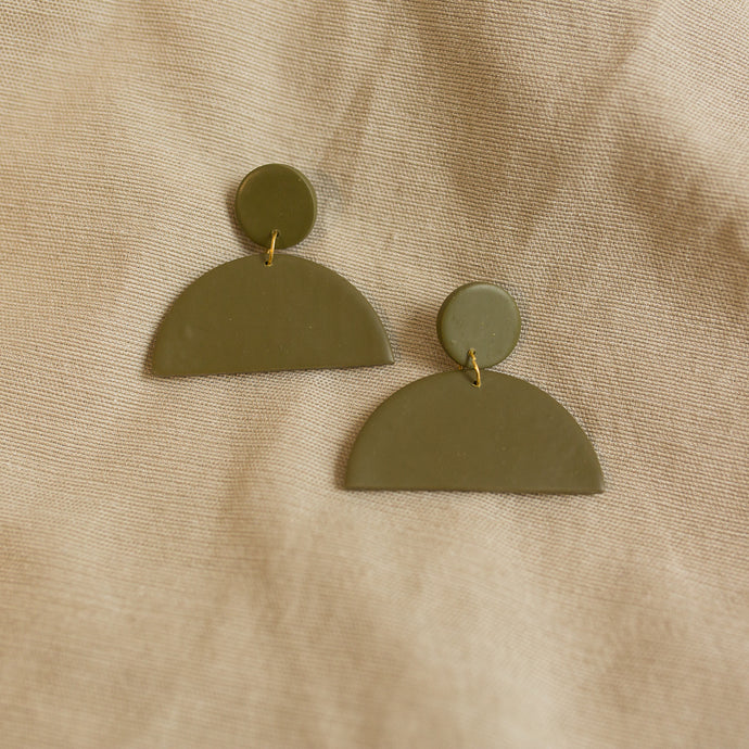 half moon earrings in forrest