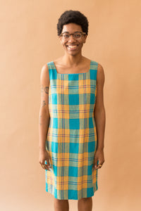 blue & gold plaid dress