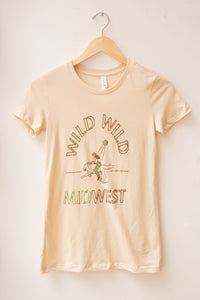 wild wild midwest women's tee in brown & green
