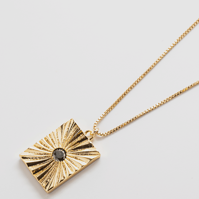 black pave medallion necklace