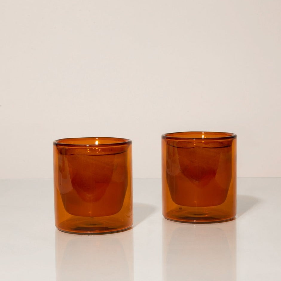 double wall glasses in amber