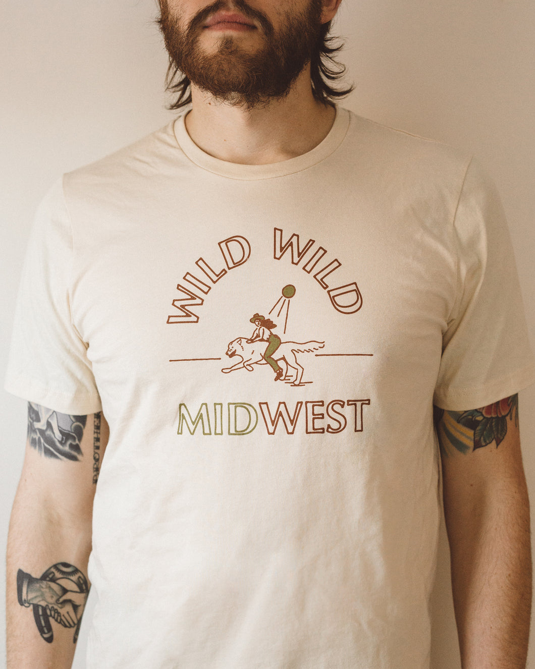 wild wild midwest unisex tee in red & gold