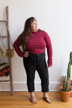 Load image into Gallery viewer, organic cotton rib turtleneck in berry