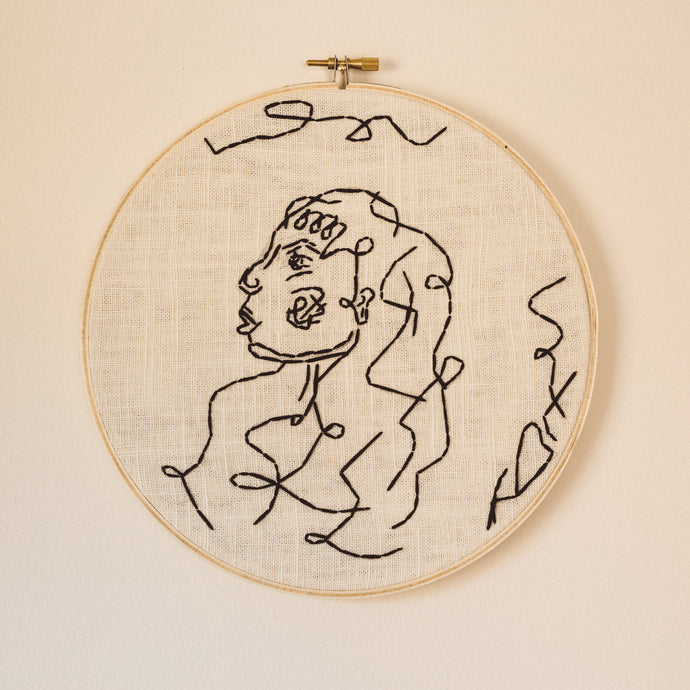 large line lady embroidery
