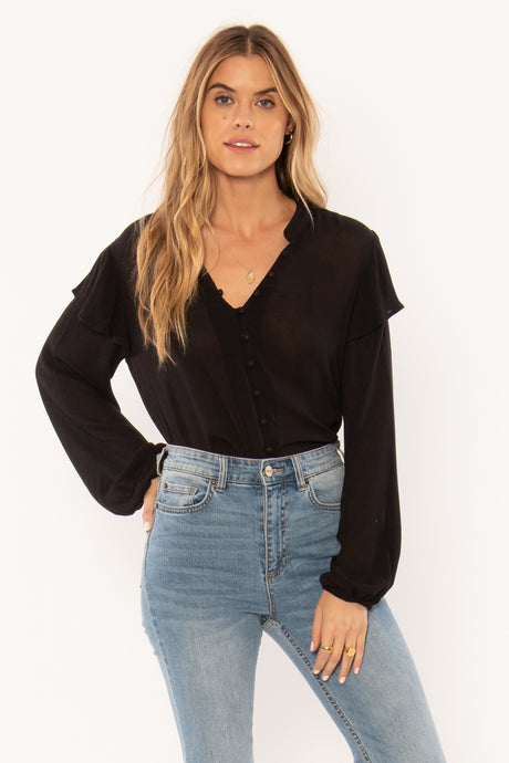 lana woven top in black