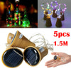 [godeal365]:,2019 hot new products 5PCS 1.5M Solar Cork Wine Bottle Stopper Copper Wire String Lights Fairy Lamps Outdoor Party Decoration