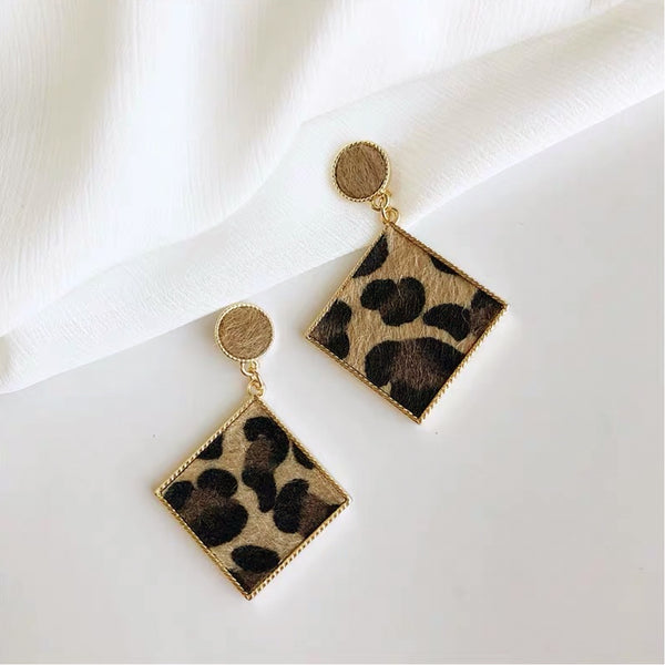 Red Leopard Hair, long stud earring with 14 ct Gold plate