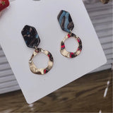 14ct gold plate irregular circle with geometric stud earring colour blue