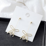 14 ct Gold Plate bow with inset crystal stone