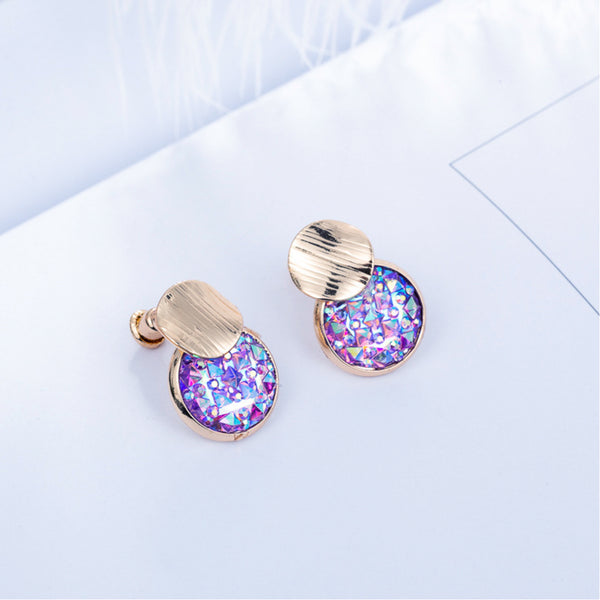 14 ct gold plate stud earrings with coloured Cubic Zirconia