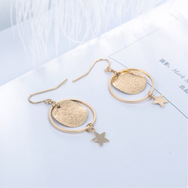 14ct Gold Plated mottled embossed circle, and hoop with dangling star - earring