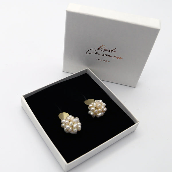 Freshwater Pearl Cluster and 14ct gold plate stud earring