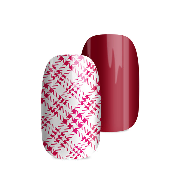 Scottish Check Red - nail wraps - a salon finish without a manicure
