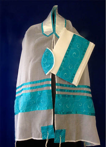 Tallit ADE 933 - Sheer White with Spiral Teal Chiffon