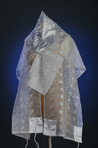 Tallit ADE 126 - White Organza Multicolored Sparkles